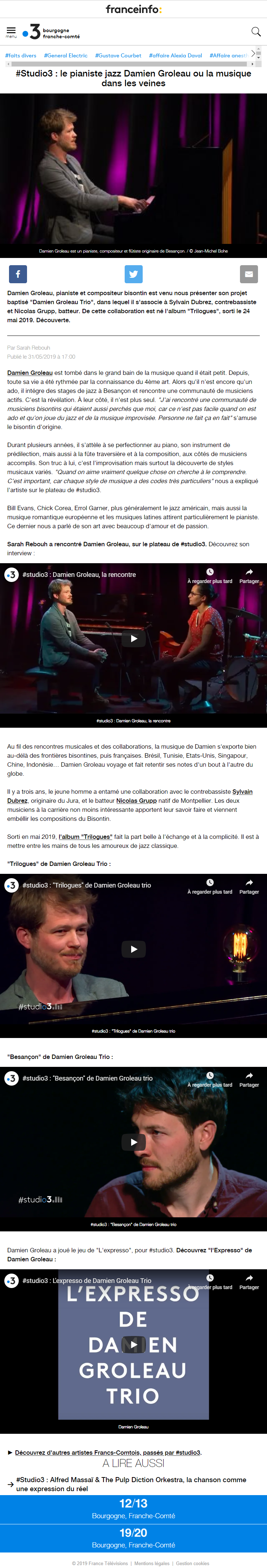 France 3 - See the screenshot of the article